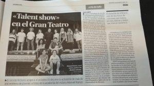 Nuestra primera hoja en el Diario Información de Elche con nuestra Escuela de Canto en Elche